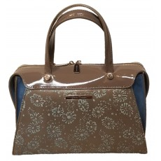 Gray Handbag with Blue Flowers